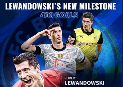 莱万德国400球里程碑:518场比赛达成,多特103球拜仁297球